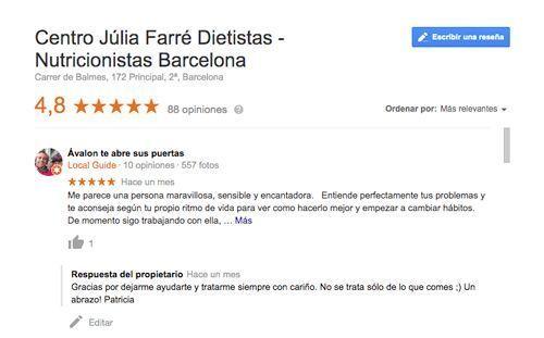 opiniones consulta de nutrición de Barcelona y online